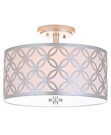 "Cecily Leaf Trellis 3 Light 15""D Gold Flush Mount"