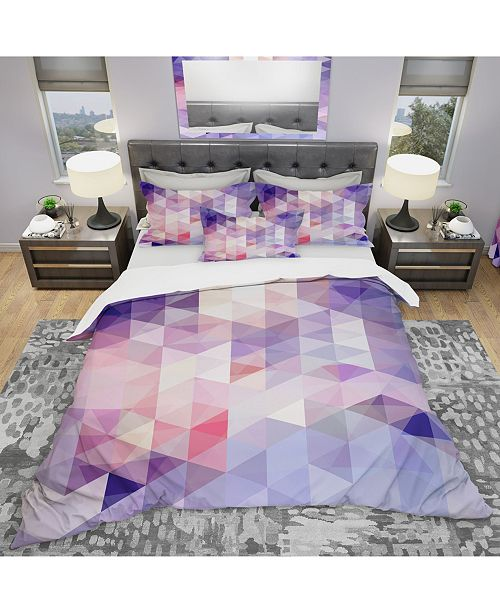 Design Art Designart 'Square Composition With Geometric Shapes' Modern and Contemporary Duvet Cover Set - Queen