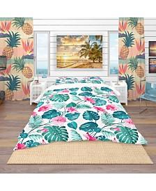Designart 'Blossom Flowers' Tropical Duvet Cover Set - Twin