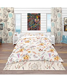 Designart 'Floral Pretty Pattern With Colorful Pastel Flowers' Bohemian and Eclectic Duvet Cover Set - Twin
