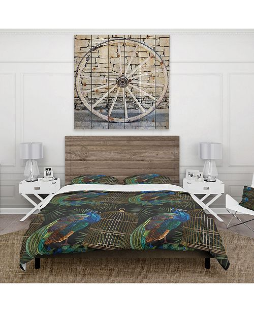 Design Art Designart 'Tails Of Peacocks And Birds Cage' Farmhouse Duvet Cover Set - Twin