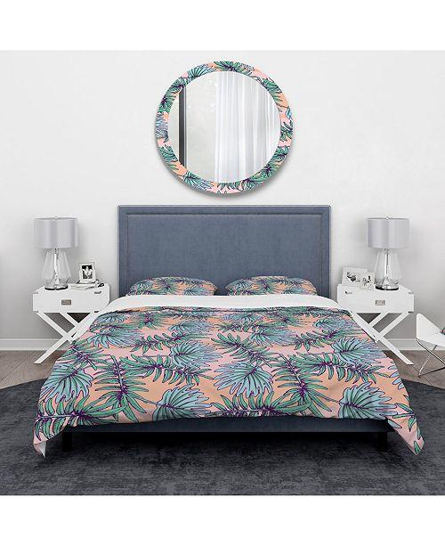 Design Art Designart 'Summer Colorful Hawaiian Pattern With Tropical Plants' Tropical Duvet Cover Set - Queen