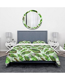 Designart 'Leaves Pattern' Modern and Contemporary Duvet Cover Set - King