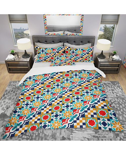 Design Art Designart 'Colorful Diagonal Geometric Tiles Pattern' Modern and Contemporary Duvet Cover Set - Twin