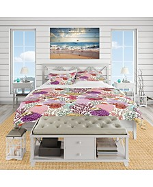 Designart 'Coral Reef And Fishes Pattern' Nautical and Coastal Duvet Cover Set - Queen
