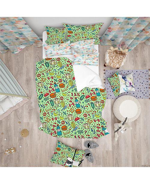 Design Art Designart Diet Green Pattern Modern Kids Duvet Cover Set - King