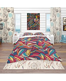 Designart 'Colorful Wave Hand-Drawn Pattern' Vintage Duvet Cover Set - Queen
