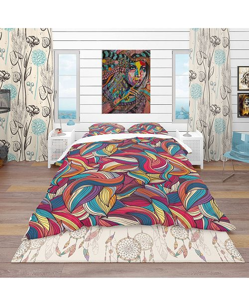 Design Art Designart 'Colorful Wave Hand-Drawn Pattern' Vintage Duvet Cover Set - Queen