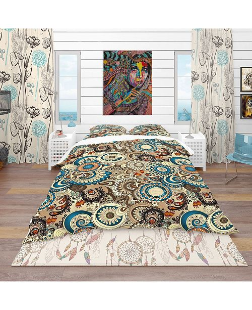 Design Art Designart 'Floral Pattern With Doodles and Cucumbers' Bohemian and Eclectic Duvet Cover Set - Queen