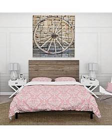 Designart 'Cute Pink Tiled Pattern' Rustic Duvet Cover Set - Twin