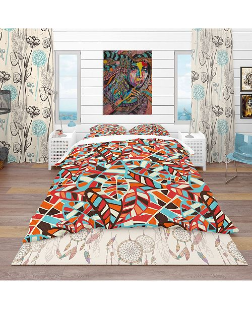 Design Art Designart 'Abstract Leaves Pattern' Bohemian and Eclectic Duvet Cover Set - King