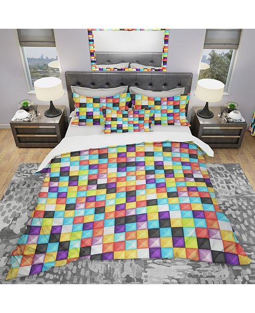 Design Art Designart 'Bright 3D Squares' Modern Duvet Cover Set - Twin