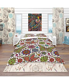 Designart 'Pattern With Flowers and Butterflies' Modern and Contemporary Duvet Cover Set - Queen