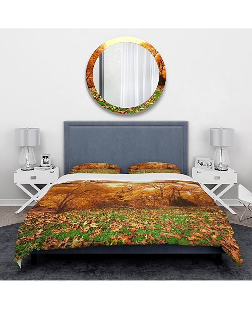 Design Art Designart 'Beautiful Autumn With Green Grass' Vintage Duvet Cover Set - Twin