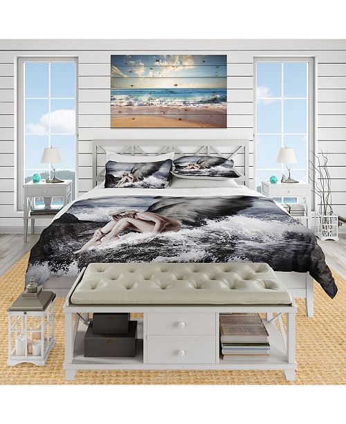 Design Art Designart 'Angel Resting By Crashing Waves' Nautical & Coastal Duvet Cover Set - King