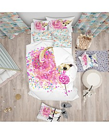 Designart 'Sweet Pink Dog Without Glasses' Modern and Contemporary Duvet Cover Set - Twin