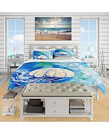 Designart 'Large Jellyfish Watercolor' Nautical and Coastal Duvet Cover Set - Queen