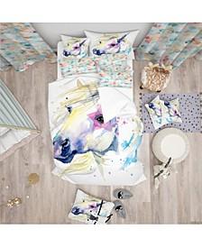 Designart 'Horse Illustration With Splash' Modern and Contemporary Duvet Cover Set - Queen