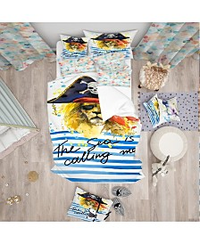 Designart 'Pirate Tiger In Hat The Sea Is Calling Me' Modern Kids Duvet Cover Set - Twin