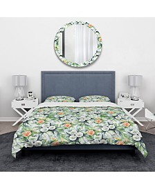 Designart 'Pattern With Flowers' Traditional Duvet Cover Set - King