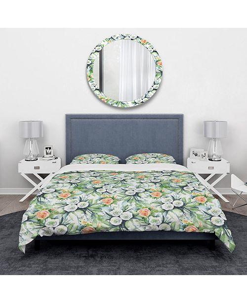 Design Art Designart 'Pattern With Flowers' Traditional Duvet Cover Set - King