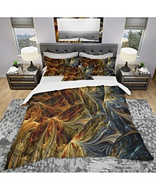 Designart 'Molten Gold Abstract' Modern and Contemporary Duvet Cover Set - Twin
