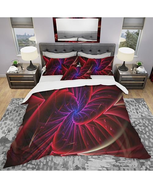 Design Art Designart 'Purple and Red Entanglement Abstract' Modern and Contemporary Duvet Cover Set - Queen