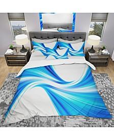 Designart 'Peaceful Blue Flowing Through' Modern and Contemporary Duvet Cover Set - Queen