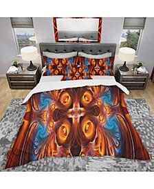 Designart 'Orange And Blue Mirrored Art' Modern and Contemporary Duvet Cover Set - King