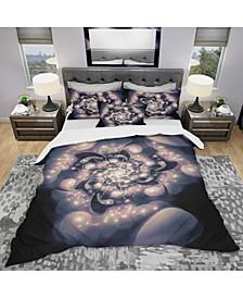 Designart 'Light Blue Fractal Flower Pattern' Modern and Contemporary Duvet Cover Set - Twin