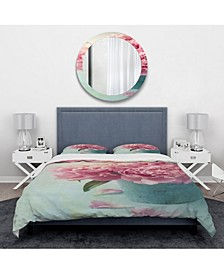 Designart 'Pink Peony Flowers In Vase' Traditional Duvet Cover Set - King