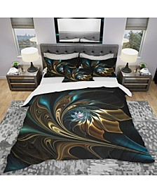Designart 'Brown Blue Fractal Flower In Black' Modern and Contemporary Duvet Cover Set - Queen