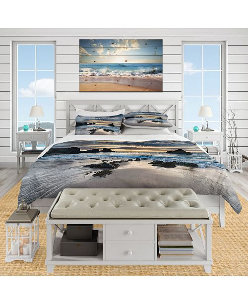 Design Art Designart 'Beautiful Porthcothan Bay' Coastal Duvet Cover Set - King
