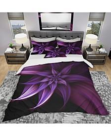 Designart 'Fractal Flower Purple' Modern and Contemporary Duvet Cover Set - King