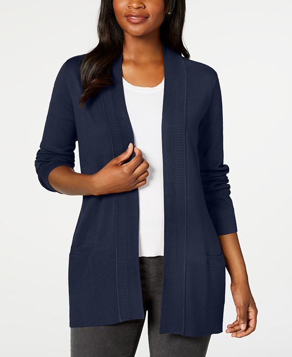 Karen Scott Open-Front Ribbed Cardigan, Created for Macy's