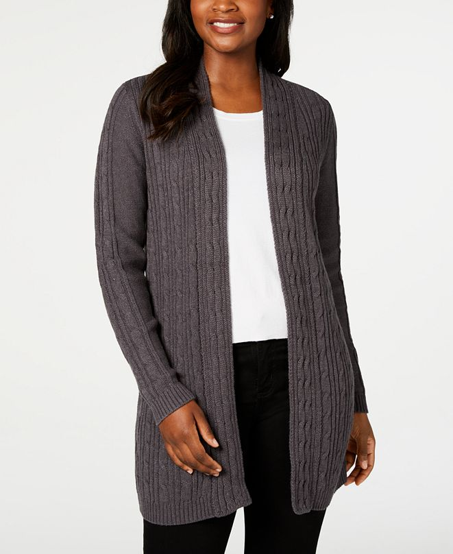 Karen Scott Plus Size Cable-Knit Open-Front Cardigan Sweater, Created for Macy's