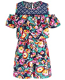 Little Girls Floral-Print Cold-Shoulder Romper