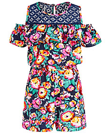 Bonnie Jean Little Girls Floral-Print Cold-Shoulder Romper