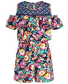 Bonnie Jean Little Girls Floral-Print Cold-Shoulder Romper