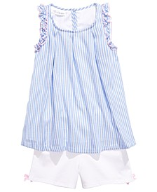 Little Girls 2-Pc. Striped Top & Bow-Detail Shorts Set