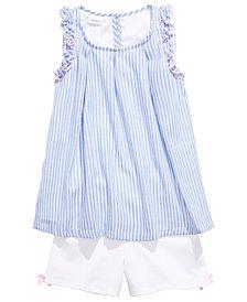 Bonnie Jean Little Girls 2-Pc. Striped Top & Bow-Detail Shorts Set