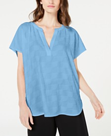 Alfani Petite V-Neck Textured Top, Created for Macy's