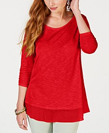 Petite Chiffon-Hem Top, Created for Macy's
