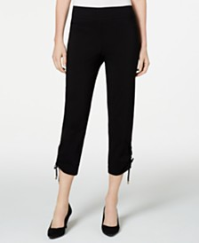 JM Collection Ruched Tie-Hem Ankle Pants, Created for Macys