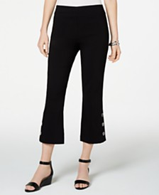 JM Collection Petite Cropped Button-Trim Flare Pants, Created for Macy's