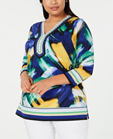 JM Collection Plus Size Embellished V-Neck Tunic Top, Created for Macy's