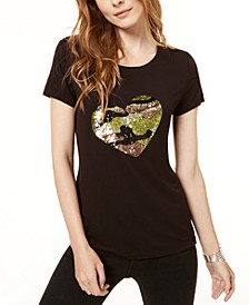 INC Sequined Heart T-Shirt, Created for Macy's