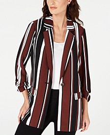 Striped Ruched-Sleeve Topper Jacket, Created for Macy's