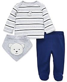 Baby Boys 3-Pc. Cotton Bear Top, Footed Pants & Bib Set