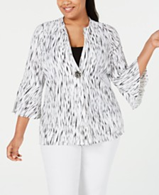 JM Collection Plus Size Textured Bell-Sleeve Jacket, Created for Macy's